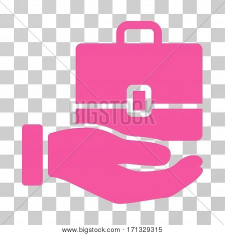 Hand Holding Case icon. Vector illustration style is flat iconic symbol pink color transparent background. Designed for web and software interfaces.