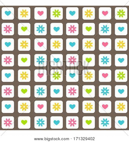 Seamless bright fun abstract pattern with heart and flower