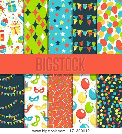 Set of 10 bright fun celebration festive abstract patterns