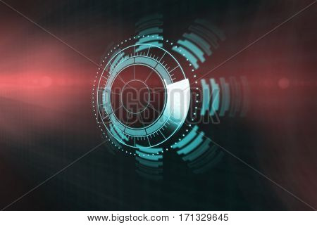 Digitally generated image of volume knob over black background 3d