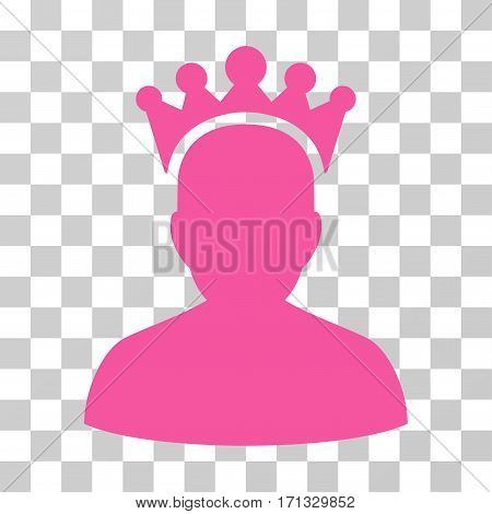 King icon. Vector illustration style is flat iconic symbol pink color transparent background. Designed for web and software interfaces.