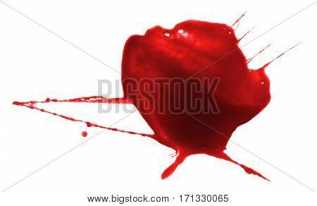 red ink splash liquid splattered inkblot drop