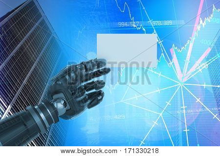 Cropped image of digital composite robotic arm holding blank placard against stocks and shares 3d