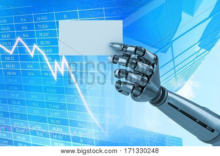 Composite image of robotic arm holding white placard against stocks and shares 3d
