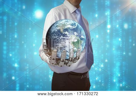 Globe of earth against digitally generated black and blue matrix 3d
