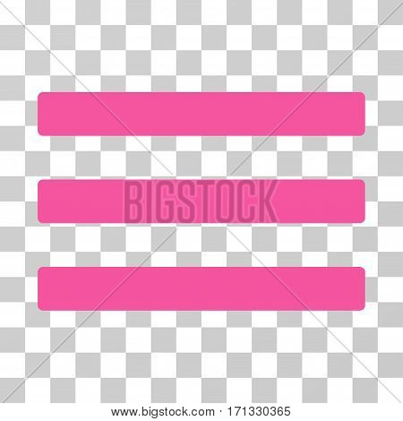 Menu icon. Vector illustration style is flat iconic symbol pink color transparent background. Designed for web and software interfaces.