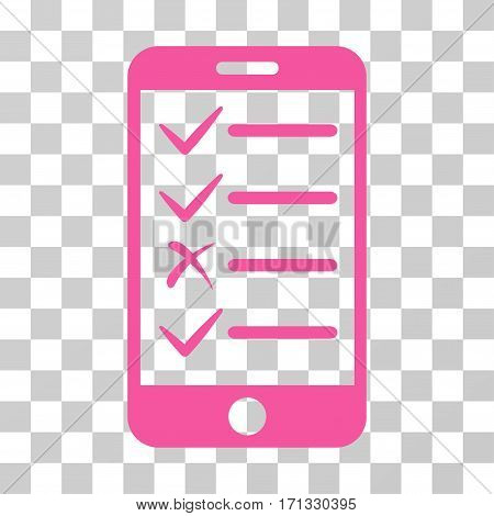 Mobile Tasks icon. Vector illustration style is flat iconic symbol pink color transparent background. Designed for web and software interfaces.