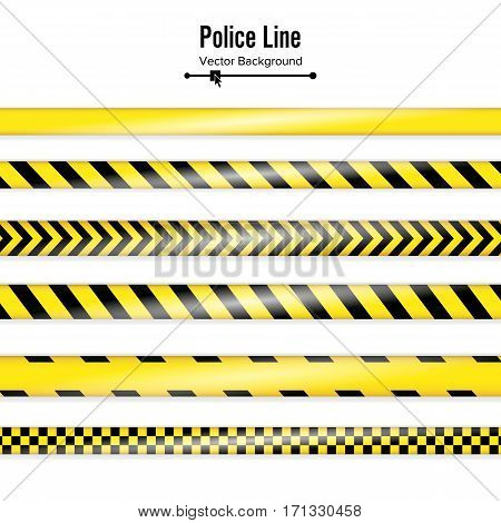 Yellow With Black Police Line. Danger Security Quarantine Tapes. Isolated On White Background. Vector