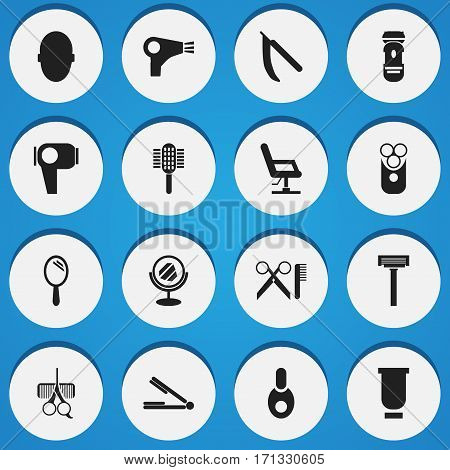 Set Of 16 Editable Coiffeur Icons. Includes Symbols Such As Vial, Hairdresser Set, Barber Tools And More. Can Be Used For Web, Mobile, UI And Infographic Design.