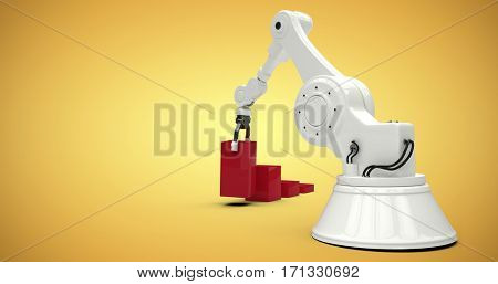 Digital generated image of robot arranging red toy blocks into bar ghaph against yellow vignette 3d