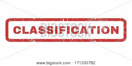 Classification text rubber seal stamp watermark. Tag inside rectangular shape with grunge design and dust texture. Horizontal vector red ink emblem on a white background.