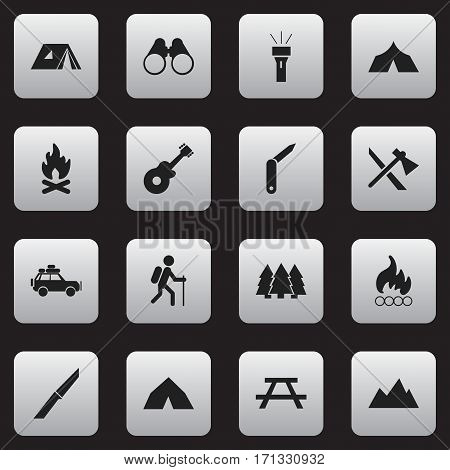 Set Of 16 Editable Camping Icons. Includes Symbols Such As Refuge, Knife, Tomahawk And More. Can Be Used For Web, Mobile, UI And Infographic Design.
