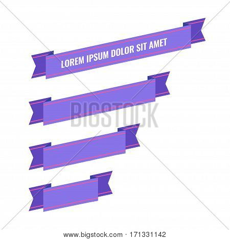 Purple flat ribbon banners set. Design retro vector illustration.
