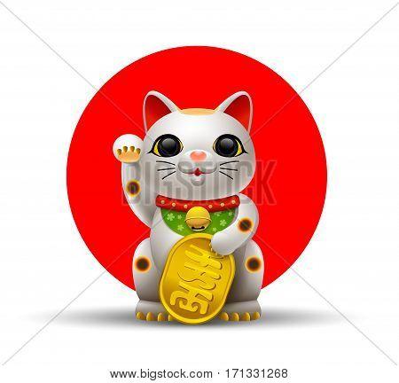 Japan cat maneki cat with gold coin