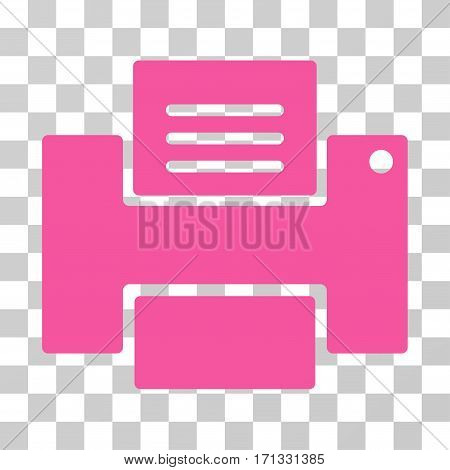 Printer icon. Vector illustration style is flat iconic symbol pink color transparent background. Designed for web and software interfaces.
