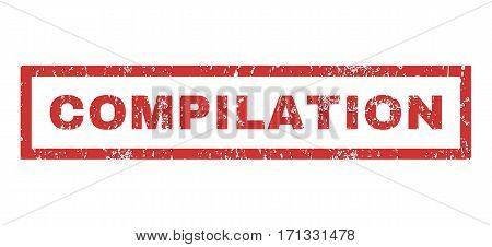 Compilation text rubber seal stamp watermark. Tag inside rectangular shape with grunge design and dirty texture. Horizontal vector red ink emblem on a white background.