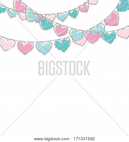 Hand-drawn hearts buntings garlands in pastel colors on white background