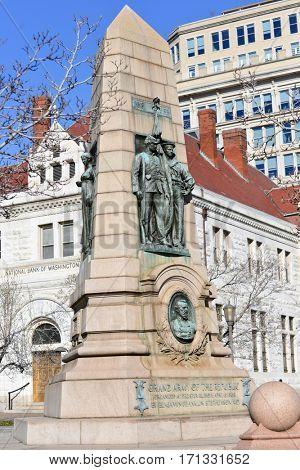 WASHINGTON, DC - MARCH 14, 2014: The Grand Army of the Republic Memorial on Pennsylvania Avenue commemorates the 1861-65 Civil War.