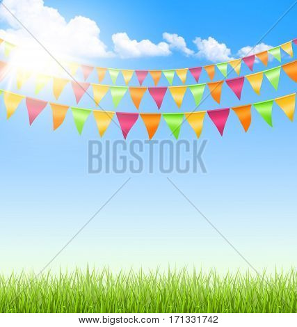 Green grass lawn with bright buntings clouds and sun on blue sky