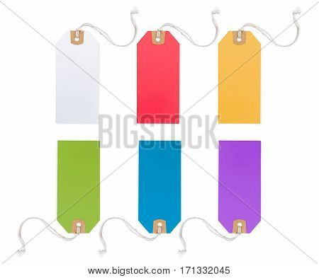 Collection of Price Tag in different color solated on white background.