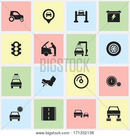 Set Of 16 Editable Transport Icons. Includes Symbols Such As Vehicle Wash, Treadle, Stoplight And More. Can Be Used For Web, Mobile, UI And Infographic Design.