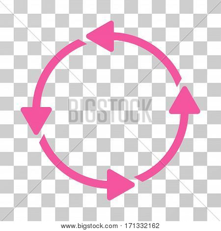 Rotation CCW icon. Vector illustration style is flat iconic symbol pink color transparent background. Designed for web and software interfaces.