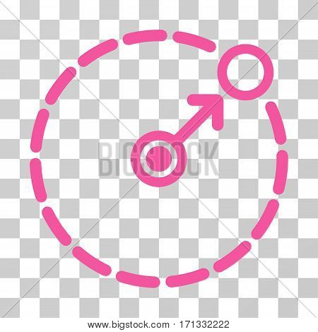 Round Area Border icon. Vector illustration style is flat iconic symbol pink color transparent background. Designed for web and software interfaces.