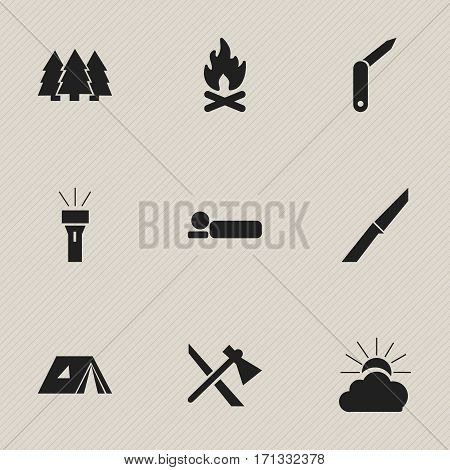Set Of 9 Editable Travel Icons. Includes Symbols Such As Bedroll, Tomahawk, Clasp-Knife And More. Can Be Used For Web, Mobile, UI And Infographic Design.