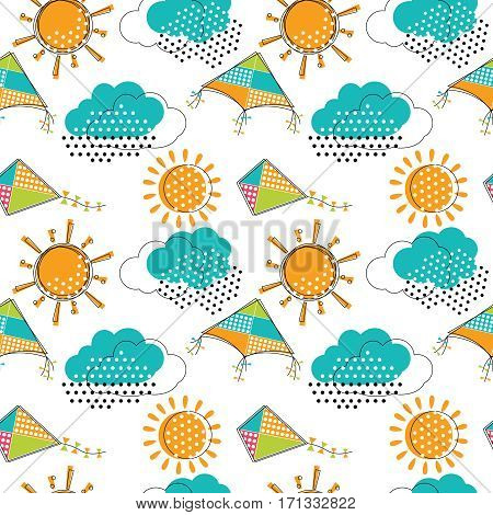 Vector seamless pattern with cute sunclouds and flying kites. Doodle drawing style background with weather symbols and toys.
