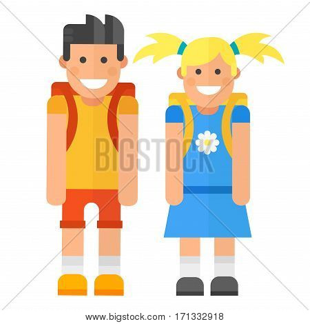 School kid character caucasian vector illustration. Study childhood happy primary education people. Girl and boy education junior expression knowledge person.