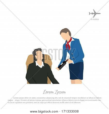 Stewardess offering wine to the passenger. Crew services. Cabin of aircraft. Vector illustration
