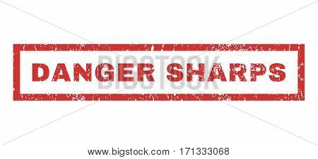 Danger Sharps text rubber seal stamp watermark. Tag inside rectangular banner with grunge design and dust texture. Horizontal vector red ink sign on a white background.