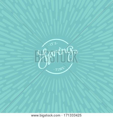 Spring time. Artistic background design with paintbrush rays. Vector design elements.