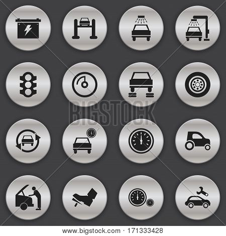 Set Of 16 Editable Car Icons. Includes Symbols Such As Vehicle Wash, Vehicle Car, Automotive Fix And More. Can Be Used For Web, Mobile, UI And Infographic Design.