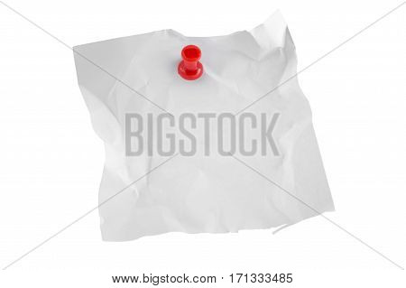 Post-it Note with red Thumbtack Isolated on white background.