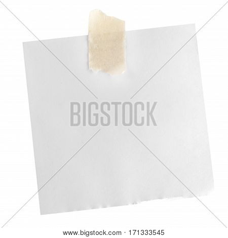 Stick note with red Thumbtack Isolated on white background.