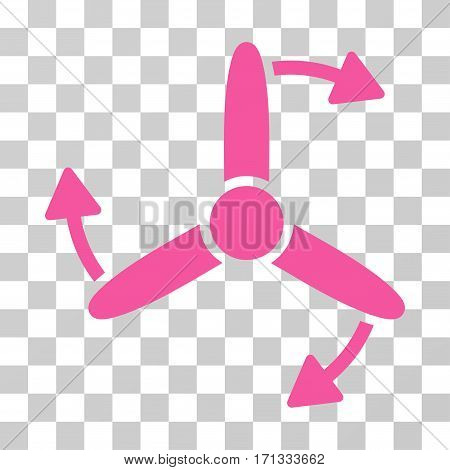 Three Bladed Screw Rotation icon. Vector illustration style is flat iconic symbol pink color transparent background. Designed for web and software interfaces.