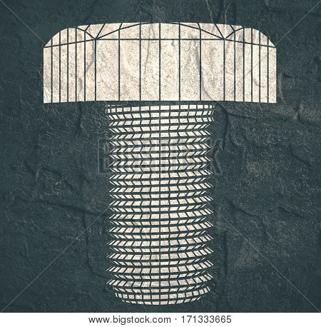 An illustration of the abstract wireframe style bolt . Service and repair relative image. Concrete textured