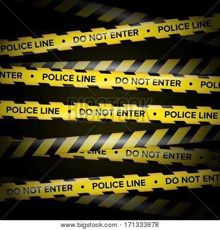 Black And Yellow Lines. Do Not Cross, Danger, Do Not Enter, Caution. Black Background. Vector