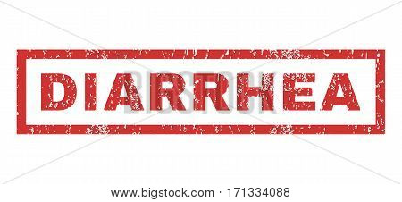 Diarrhea text rubber seal stamp watermark. Tag inside rectangular shape with grunge design and unclean texture. Horizontal vector red ink sticker on a white background.