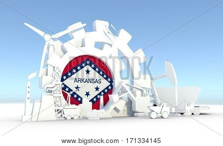 Energy and Power icons set with Arkansas flag. Sustainable energy generation and heavy industry. 3D rendering.