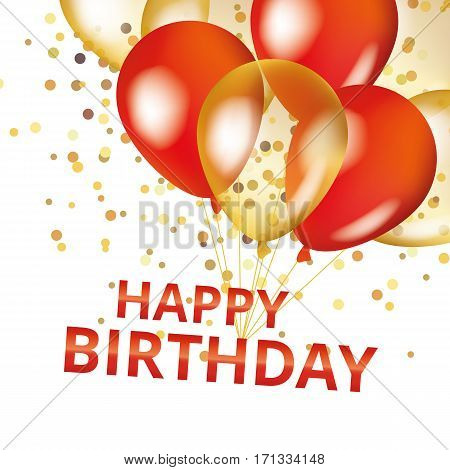 Balloons happy birthday on black. Gold and red balloon sparkles holiday background. Happy Birthday to you logo, card, banner, web, design. Happy Birthday and new year card. Gold white transparent balloon background