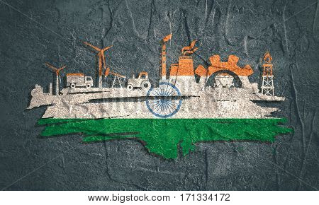 Energy and Power icons set and grunge brush stroke. Energy generation and heavy industry relative image. Agriculture and transportation. Concrete texture. Flag of the India