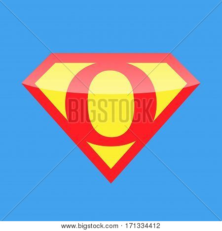 Superhero logo with the letter O. Vector illustration