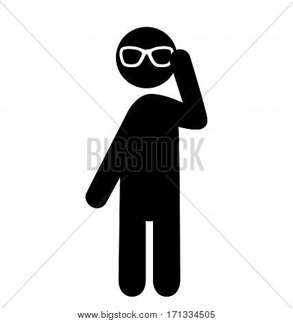 Summertime Pictograms Flat People with Sun Glasses Icons Isolated on White Background