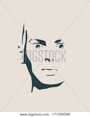 Face front view. Elegant silhouette of a female head. Vector Illustration. Monochrome gamma.