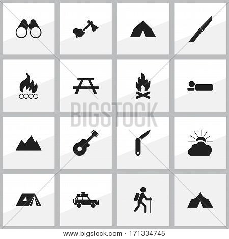 Set Of 16 Editable Camping Icons. Includes Symbols Such As Sunrise, Bedroll, Shelter And More. Can Be Used For Web, Mobile, UI And Infographic Design.