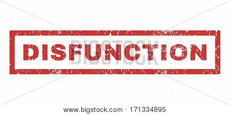 Disfunction text rubber seal stamp watermark. Tag inside rectangular shape with grunge design and dust texture. Horizontal vector red ink sticker on a white background.