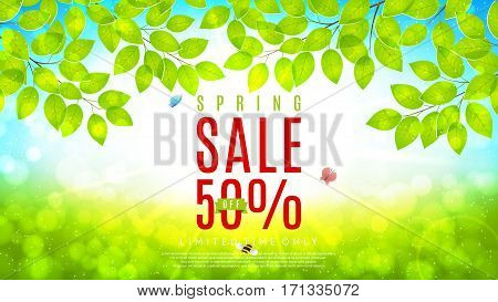 Beautiful flyer for spring sale. Vector illustration. Spring day background with sunshine and tree branches.