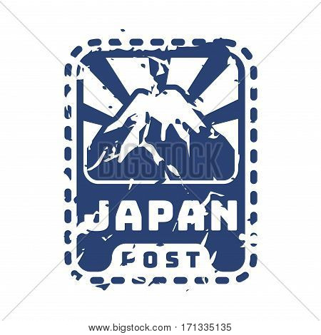 Vector vintage postage japan mail stamp. Retro delivery envelope grunge print. Postmark design correspondence sign. Antique communication template texture.